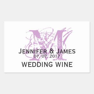Moderner lila Monogramm-Hochzeits-Wein-Aufkleber Rechteckiger Aufkleber
