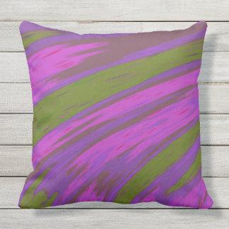 Moderner lila und grüne Farbabstrakter Entwurf Kissen Für Draußen