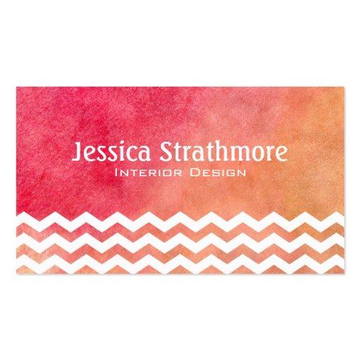 Moderner orange und rosa Zickzack Watercolor Visitenkarten