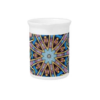 Moderner Pfirsich-blaues Mandala-Muster Krug