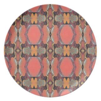 Moderner Pfirsich-Stammes- Muster Teller