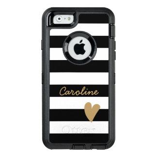 Moderner reizender Herz-Dekor-Schwarz-weißes OtterBox iPhone 6/6s Hülle