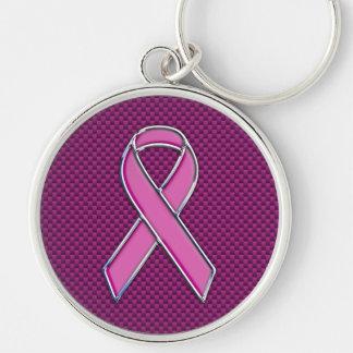 Moderner rosa Band-Bewusstseins-Entwurf Silberfarbener Runder Schlüsselanhänger