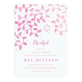 Moderner rosa Baum von Leben-Schläger Mitzvah 12,7 X 17,8 Cm Einladungskarte
