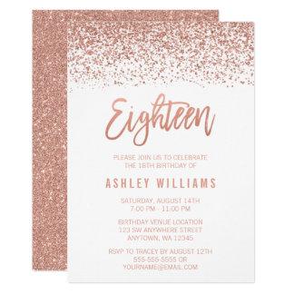 Moderner Rosen-GoldImitat-Glitter-18. Geburtstag 12,7 X 17,8 Cm Einladungskarte