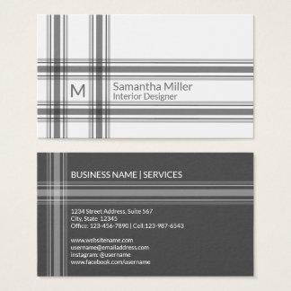 Moderner schwarzer karierter einfacher Minimalist Visitenkarte