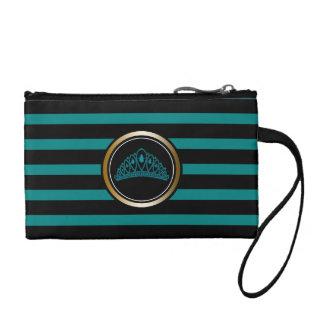 Moderner schwarzer Streifen-aquamarine Münzbörse