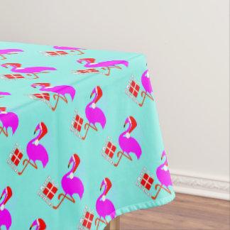 Moderner Spaß-Rosa-Flamingo-frohe Weihnachten Tischdecke