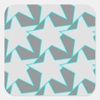 Moderner Stern geometrisch - Grau und Türkis Quadrat-Aufkleber