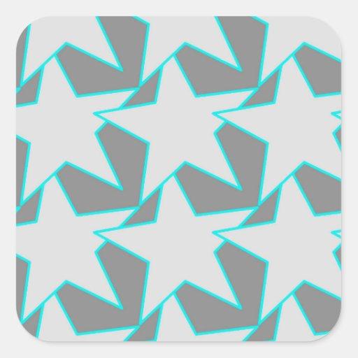 Moderner Stern geometrisch - Grau und Türkis Quadrataufkleber