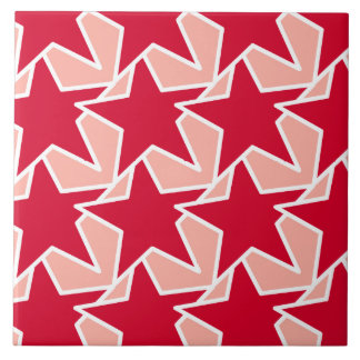 Moderner Stern geometrisch - korallenrotes Rotes Keramikfliese