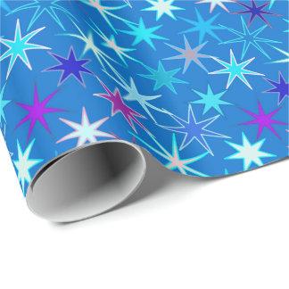Moderner Sternexplosion-Druck, tiefes Cerulean Geschenkpapier