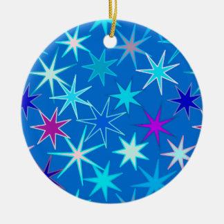Moderner Sternexplosion-Druck, tiefes Cerulean Keramik Ornament
