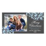 Moderner Strudel blühen Weihnachtsgrau und -BLAU Photogrußkarten