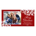 Moderner Strudel blühen Weihnachtsrot und -WEISS Personalisierte Photo Karte