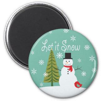moderner Trendwinter Snowman Runder Magnet 5,1 Cm