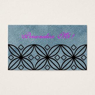 Moderner Trendy Landchic-abstraktes Blumen-Denim Visitenkarte