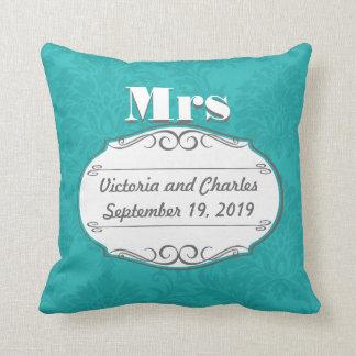 Moderner Türkis-Chartreuse Damast-Hochzeit Kissen