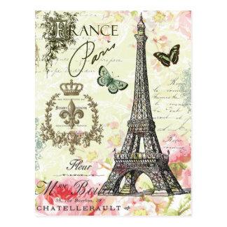moderner Vintager Franzoseeiffel-Turm Postkarte