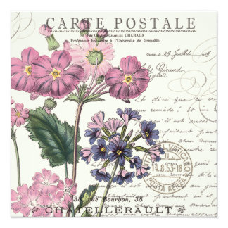 moderner Vintager französischer Lavendel mit Quadratische 13,3 Cm Einladungskarte