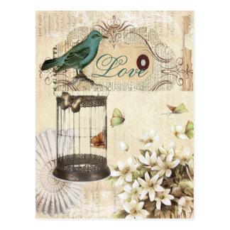 moderner Vintager französischer Vogel botanischen Postkarte