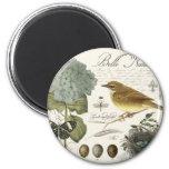 moderner Vintager französischer Vogel und Nest Runder Magnet 5,7 Cm