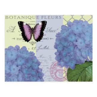moderner Vintager Hydrangea und Schmetterling Postkarte