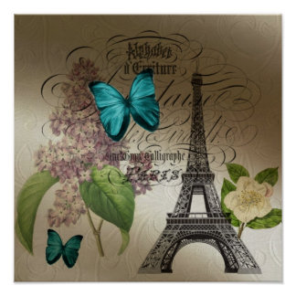 moderner Vintager Turm Paris Eiffel der lila Poster