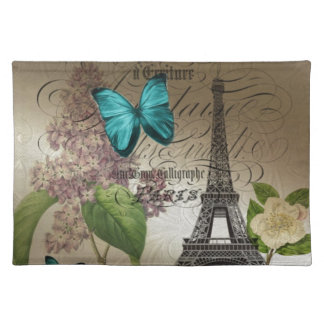 moderner Vintager Turm Paris Eiffel der lila Stofftischset