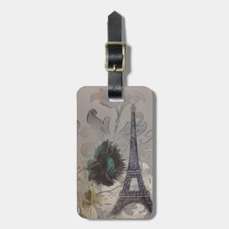 moderner Vintager Turm Paris Eiffel des grauen Gepäckanhänger
