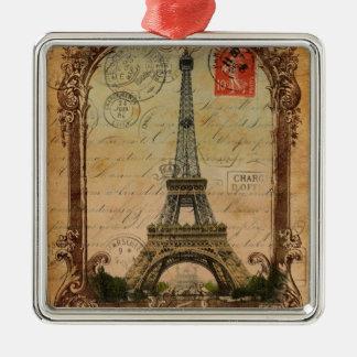 moderner Vintager Turm Paris Eiffel des Silbernes Ornament