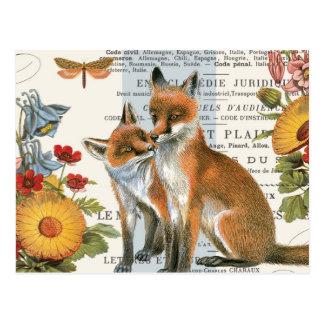 Moderner Vintager Waldfuchs Postkarte