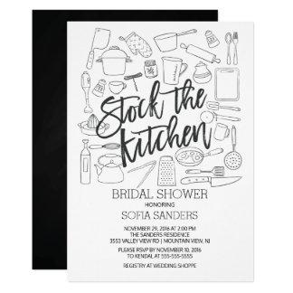 Moderner Vorrat die Küche bearbeitet Brautparty 12,7 X 17,8 Cm Einladungskarte