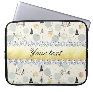 Moderner Weihnachtsbaum-Schnee spielt Diamanten Laptop Sleeve