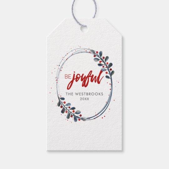 Moderner WeihnachtsKranz-Feiertag Geschenkanhänger
