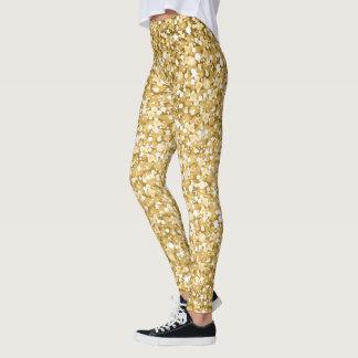 Moderner Weiß-und GoldGlitter Leggings