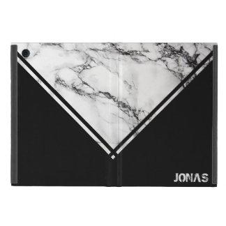 Moderner weißer und schwarzer Marmor mit Streifen iPad Mini Etui