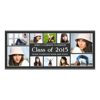 Moderner zehn Foto-Collagen-Abschluss Announcment 10,2 X 23,5 Cm Einladungskarte
