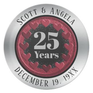 Modernes 25. Hochzeitstag-Andenken 25 Jahre Teller