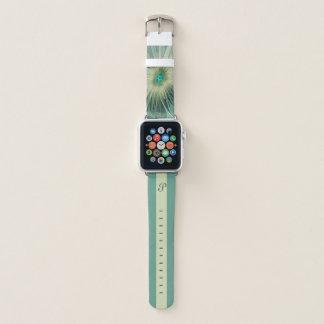 Modernes abstraktes Blumen-Türkis-Weizen-Monogramm Apple Watch Armband