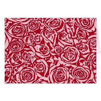 Modernes abstraktes Rosen-Muster, Rose rot und Karte
