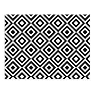 Modernes abstraktes Schwarz-weißes geometrisches Postkarte