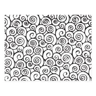 Modernes abstraktes Wirbles Schwarzweiss-Muster Postkarte