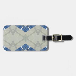 Modernes angesagtes blaues Grau-geometrisches Gepäckanhänger