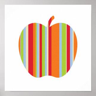 Modernes Apple mit Rotem u. Orange Stripes Plakat