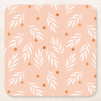 Modernes Aprikosen-Rosa-BlumenBlätter-Muster Rechteckiger Pappuntersetzer