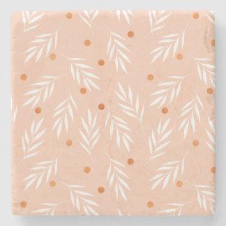 Modernes Aprikosen-Rosa-BlumenBlätter-Muster Steinuntersetzer
