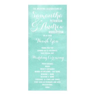 Modernes Aquagrün-Aquarell Hochzeits-Programm 12,2 X 22,9 Cm Kartendruck