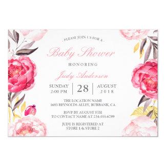 Modernes Aquarell-botanische mit BlumenBabyparty 12,7 X 17,8 Cm Einladungskarte