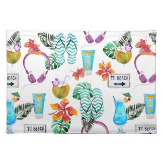 Modernes Aquarell-tropisches Strand-Muster Tischset